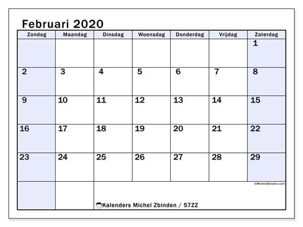 Kalender februari 2020, 57ZZ. Kalender om gratis te printen.