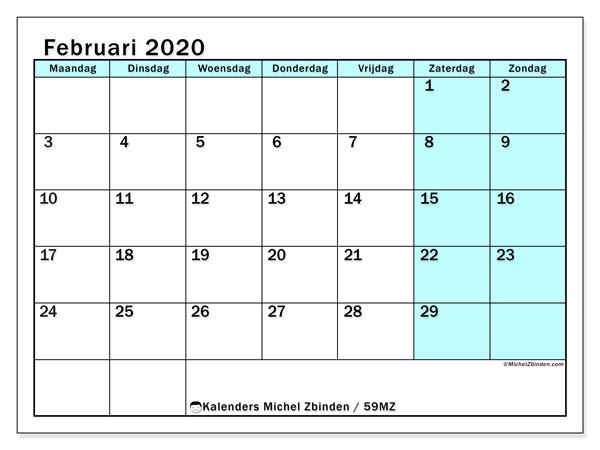 Kalender februari 2020, 59MZ. Agenda om gratis te printen.