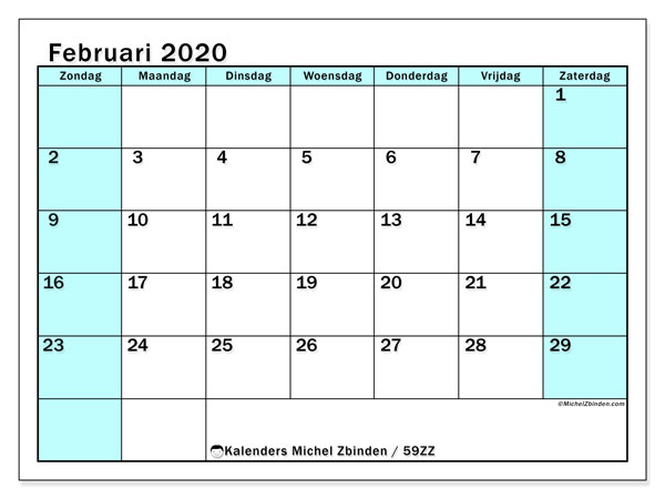 Kalender februari 2020, 59ZZ. Gratis printbare kalender.