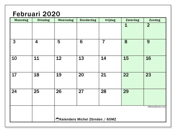 Kalender februari 2020, 60MZ. Kalender om gratis af te drukken.