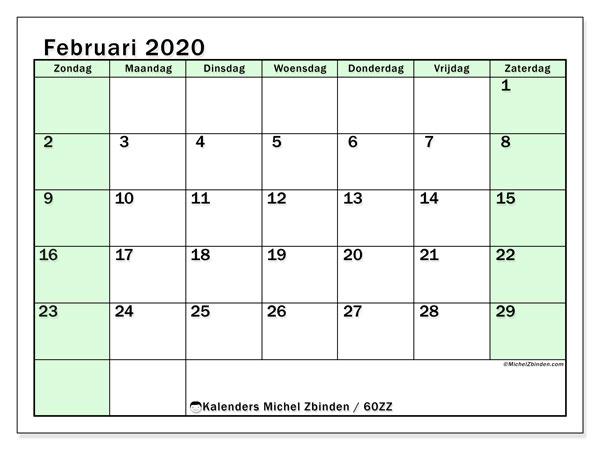Kalender februari 2020, 60ZZ. Gratis kalender om af te drukken.