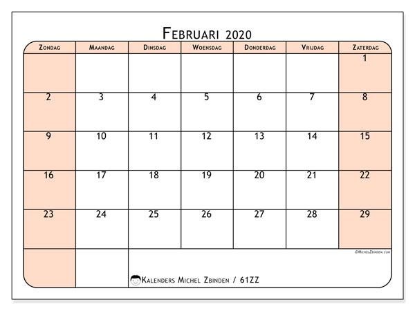 Kalender februari 2020, 61ZZ. Gratis printbare kalender.