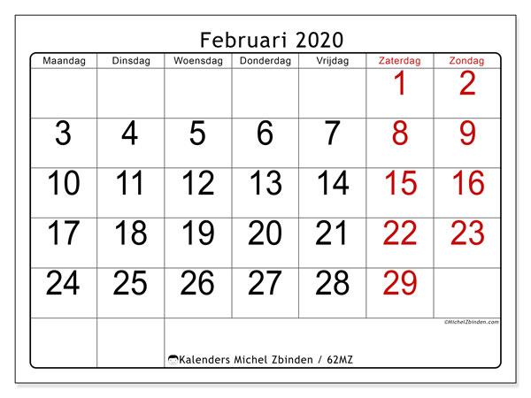 Kalender februari 2020, 62MZ. Agenda om gratis te printen.