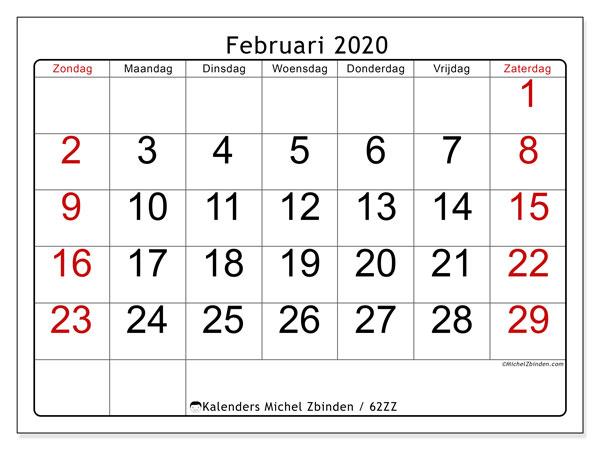 Kalender februari 2020, 62ZZ. Maandkalender om gratis te printen.