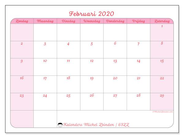 Kalender februari 2020, 63ZZ. Kalender voor de maand die gratis moet worden afgedrukt.
