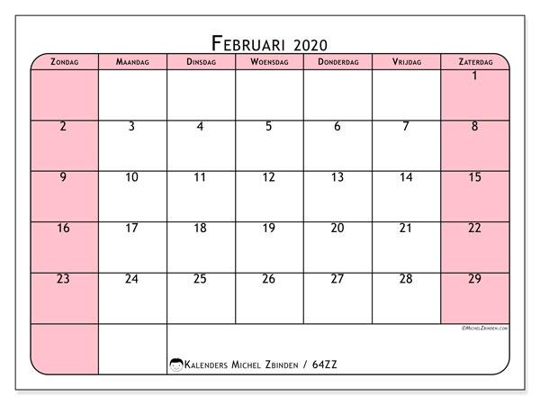 Kalender februari 2020, 64ZZ. Kalender voor de maand die gratis moet worden afgedrukt.