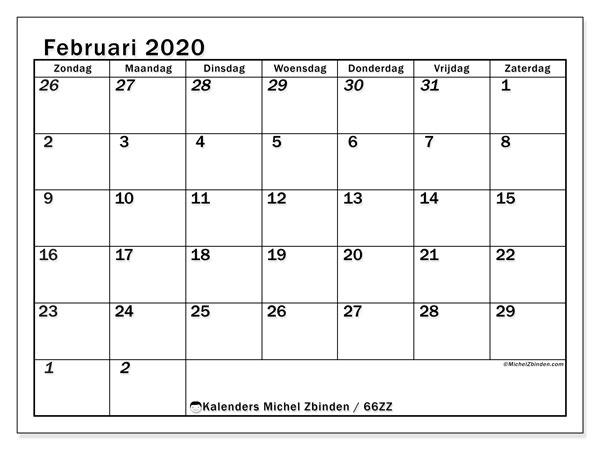 Kalender februari 2020, 66ZZ. Agenda om gratis te printen.