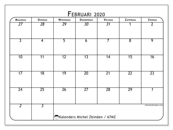 Kalender februari 2020, 67MZ. Maandkalender om gratis te printen.