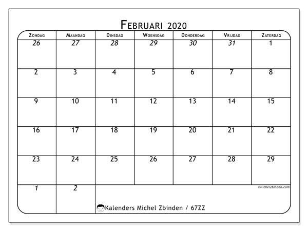 Kalender februari 2020, 67ZZ. Kalender om gratis af te drukken.