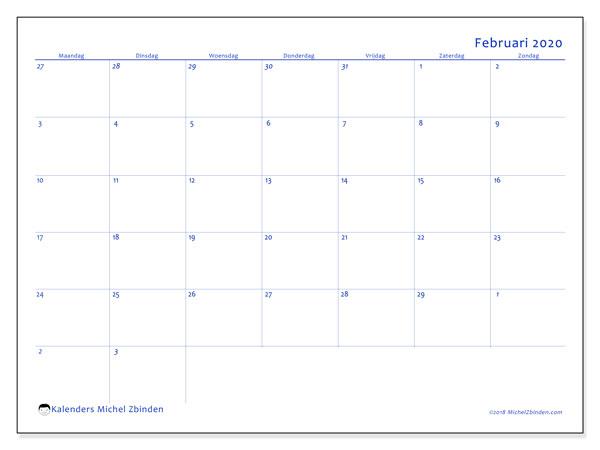 Kalender februari 2020, 73MZ. Gratis afdrukbare kalender.