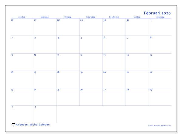 Kalender februari 2020, 73ZZ. Gratis printbare kalender.