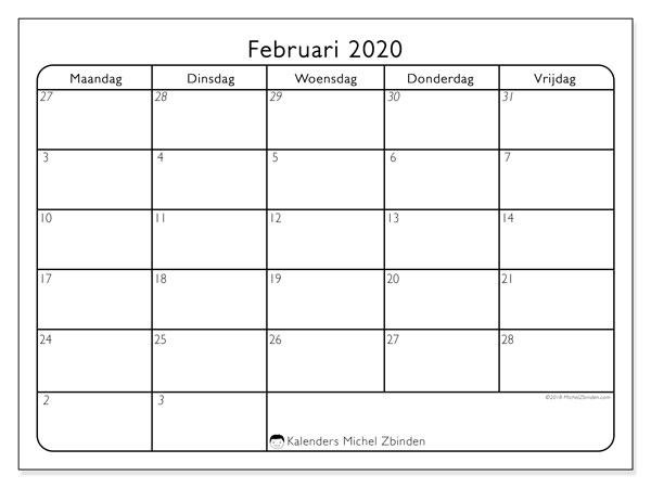 Kalender februari 2020, 74MV. Gratis kalender om af te drukken.