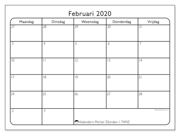 Kalender februari 2020, 74MZ. Schema om gratis te printen.