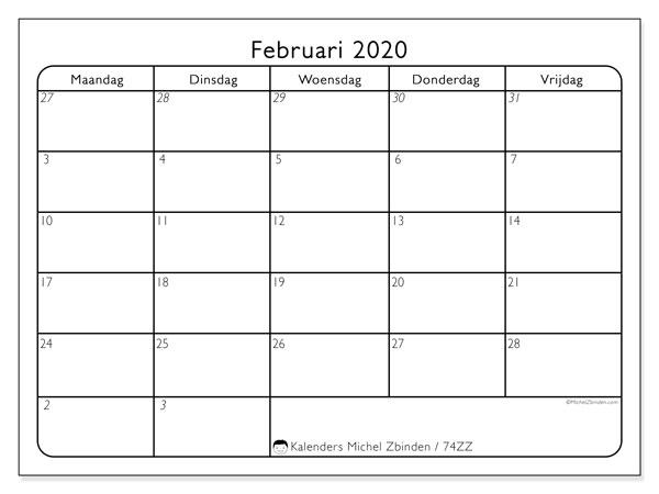 Kalender februari 2020, 74ZZ. Gratis kalender om af te drukken.