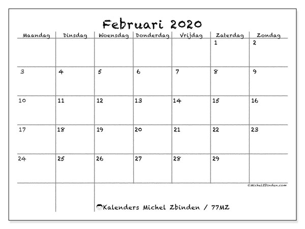Kalender februari 2020, 77MZ. Gratis printbare kalender.
