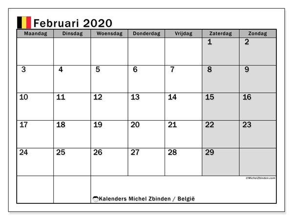 Kalender februari 2020, met feestdagen in België. Kalender feestdagen om gratis te printen.