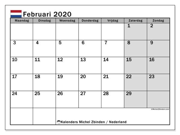 Kalender februari 2020, met feestdagen in Nederland. Kalender feestdagen om gratis te printen.