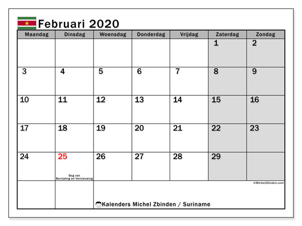 Kalender februari 2020, met feestdagen in Suriname. Kalender om gratis te printen met feestdagen.