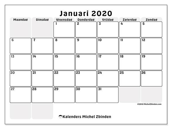 Kalender januari 2020, 44MZ. Gratis printbare kalender.