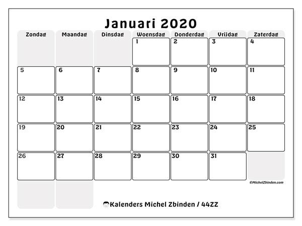 Kalender januari 2020, 44ZZ. Maandkalender om gratis te printen.
