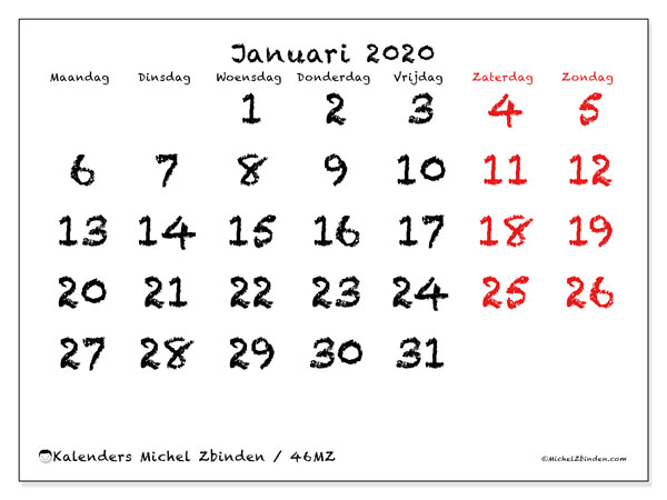 Kalender januari 2020, 46MZ. Gratis kalender om af te drukken.
