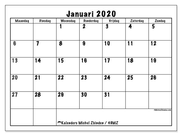 Kalender januari 2020, 48MZ. Kalender voor de maand die gratis moet worden afgedrukt.