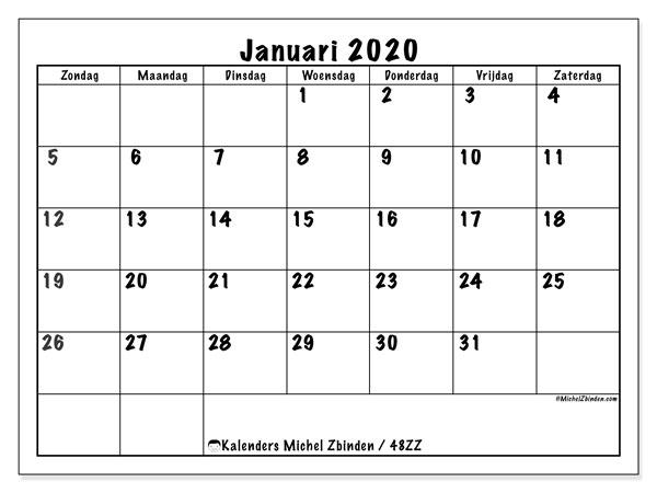 Kalender januari 2020, 48ZZ. Schema om gratis te printen.