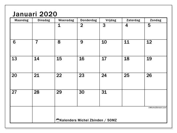 Kalender januari 2020, 50MZ. Gratis printbare kalender.