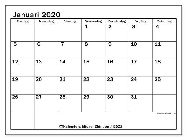 Kalender januari 2020, 50ZZ. Maandkalender om gratis te printen.