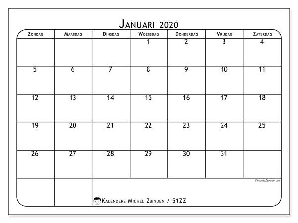 Kalender januari 2020, 51ZZ. Schema om gratis te printen.