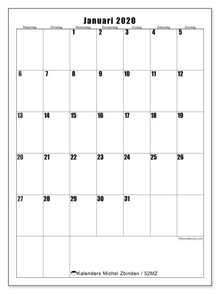 Kalender januari 2020, 52MZ. Kalender voor de maand die gratis moet worden afgedrukt.