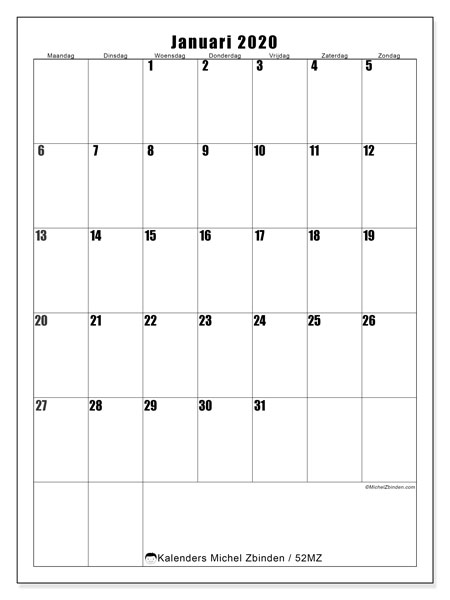 Kalender januari 2020, 52MZ. Gratis afdrukbare kalender.