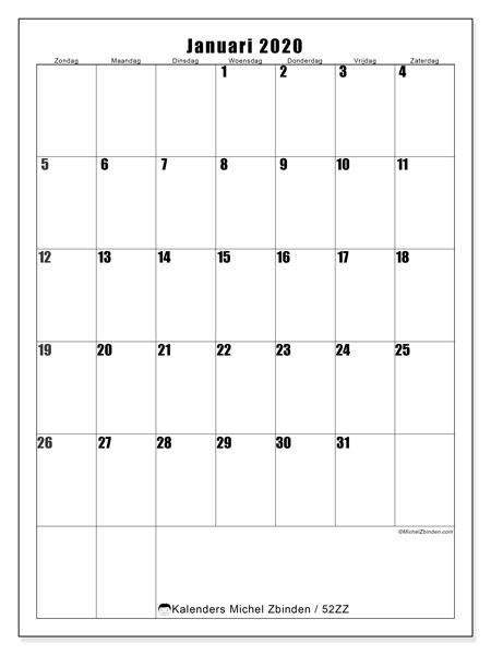 Kalender januari 2020, 52ZZ. Gratis kalender om af te drukken.