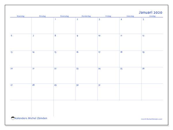 Kalender januari 2020, 55MZ. Kalender voor de maand die gratis moet worden afgedrukt.
