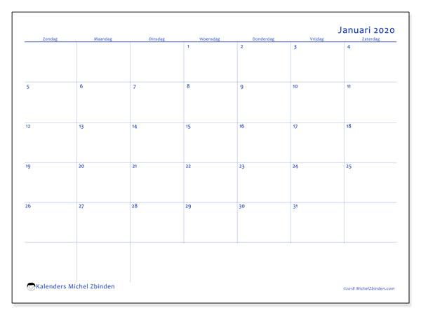 Kalender januari 2020, 55ZZ. Kalender voor de maand die gratis moet worden afgedrukt.