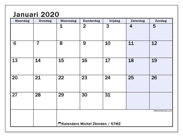 Kalender januari 2020, 57MZ. Kalender voor de maand die gratis moet worden afgedrukt.