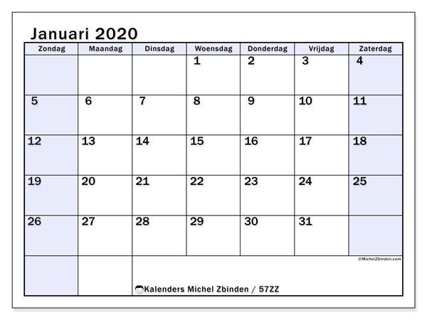 Kalender januari 2020, 57ZZ. Kalender voor de maand die gratis moet worden afgedrukt.