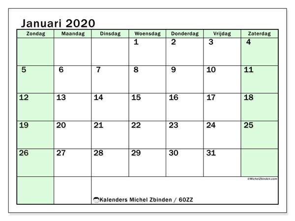 Kalender januari 2020, 60ZZ. Gratis kalender om af te drukken.