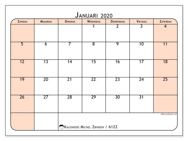 Kalender januari 2020, 61ZZ. Kalender om gratis af te drukken.
