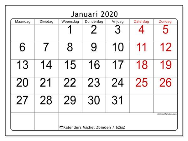 Kalender januari 2020, 62MZ. Kalender om gratis af te drukken.