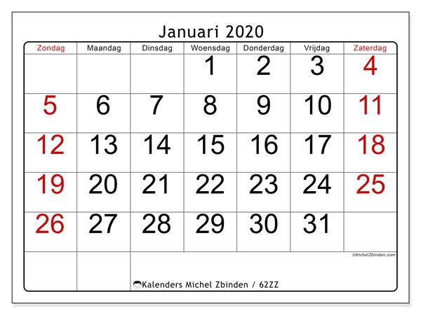 Kalender januari 2020, 62ZZ. Gratis printbare kalender.