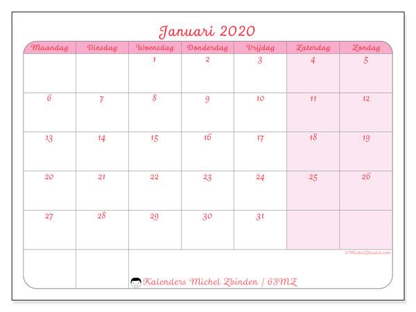 Kalender januari 2020, 63MZ. Kalender voor de maand die gratis moet worden afgedrukt.
