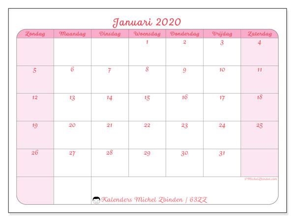 Kalender januari 2020, 63ZZ. Gratis kalender om af te drukken.