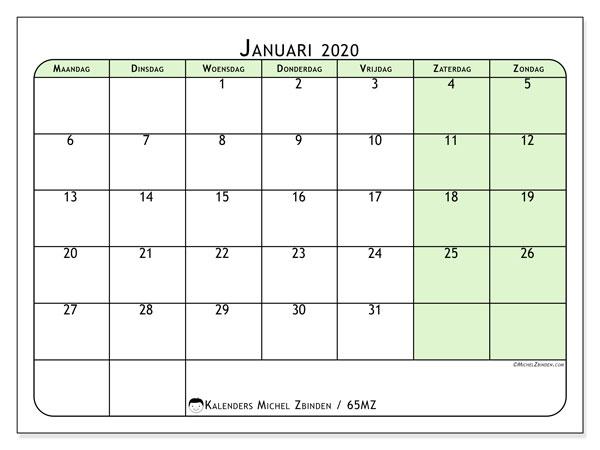 Kalender januari 2020, 65MZ. Kalender voor de maand die gratis moet worden afgedrukt.