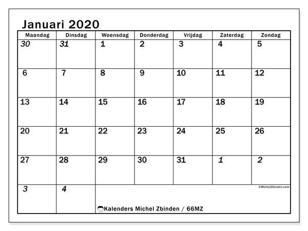 Kalender januari 2020, 66MZ. Kalender om gratis te printen.