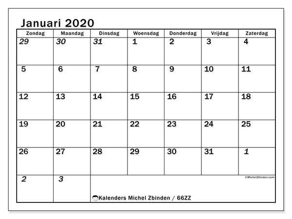 Kalender januari 2020, 66ZZ. Kalender om gratis af te drukken.