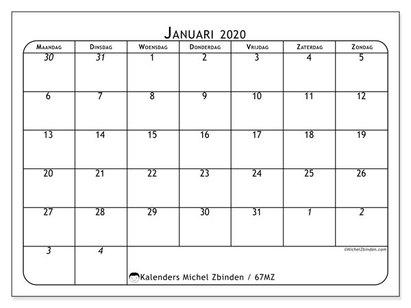 Kalender januari 2020, 67MZ. Gratis afdrukbare kalender.