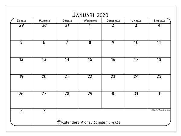 Kalender januari 2020, 67ZZ. Kalender om gratis te printen.