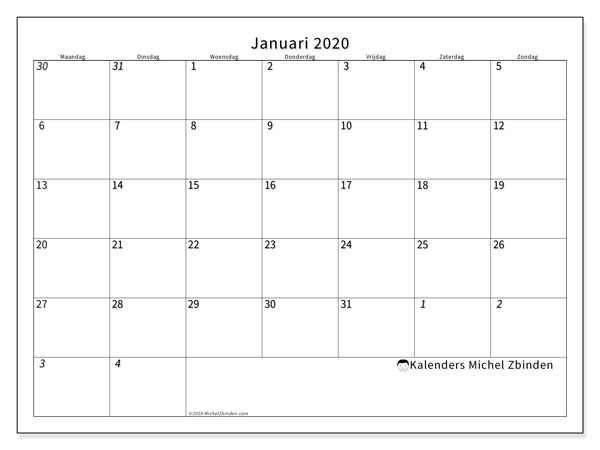 Kalender januari 2020, 70MZ. Gratis afdrukbare kalender.
