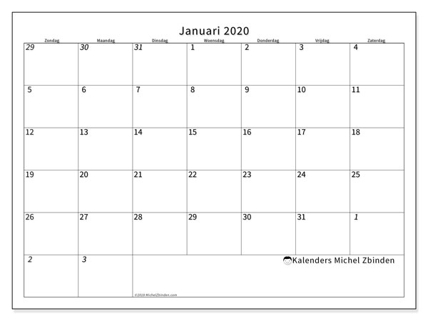 Kalender januari 2020, 70ZZ. Kalender om gratis af te drukken.